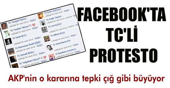 Facebook'ta TC protestosu